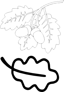 Дубовый лист трафарет