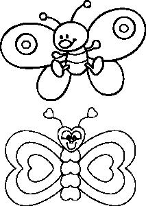 Детские бабочки трафарет и раскраска