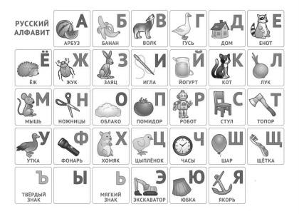 алфавит русский с картинками распечатать печатный формат а4
